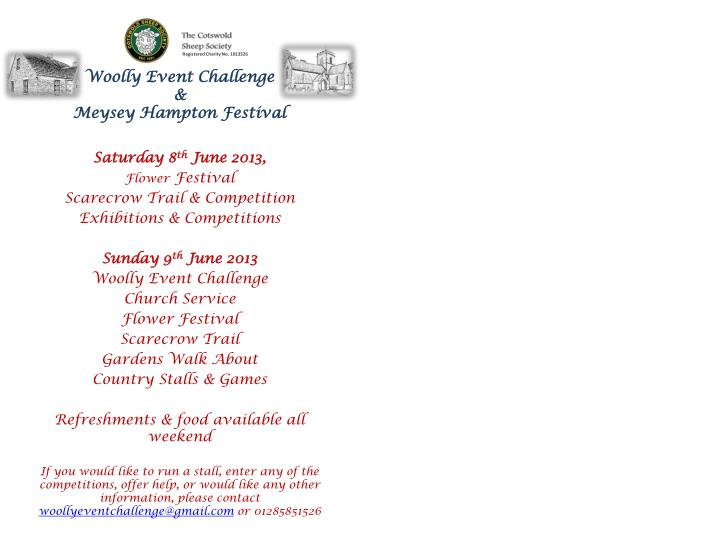 woolly event challenge meysey hampton festival n.