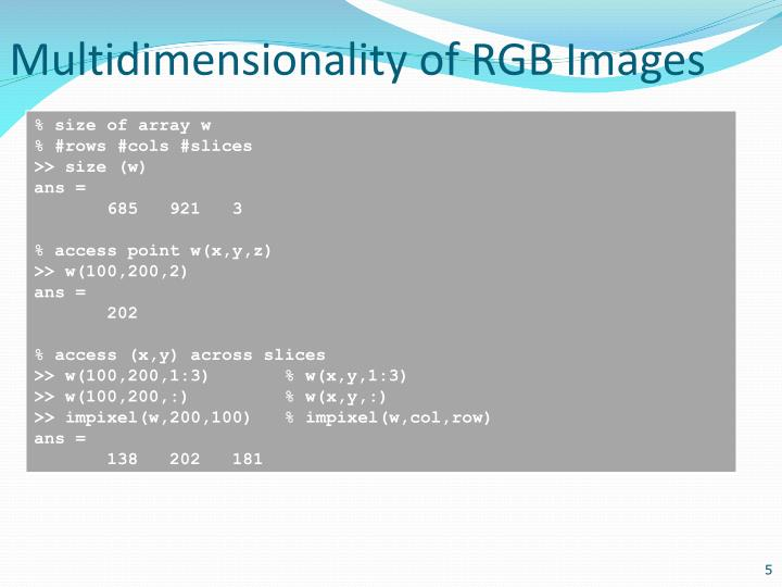 Multidimensionality of RGB Images