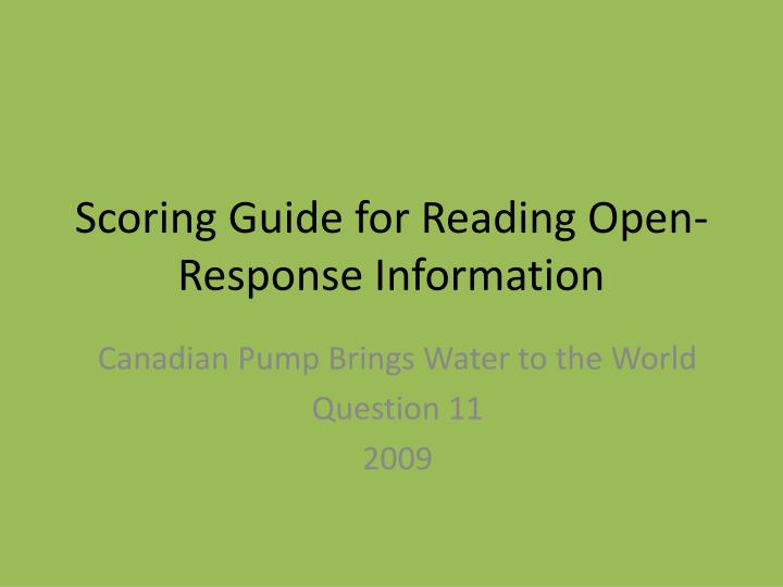 Scoring guide for reading open response information