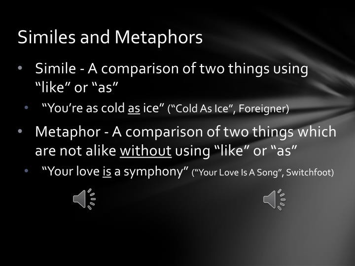 Ppt Learning Figurative Language With Song Lyrics Powerpoint