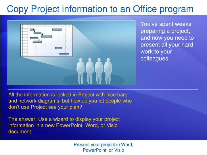 copy project information to an office program n.