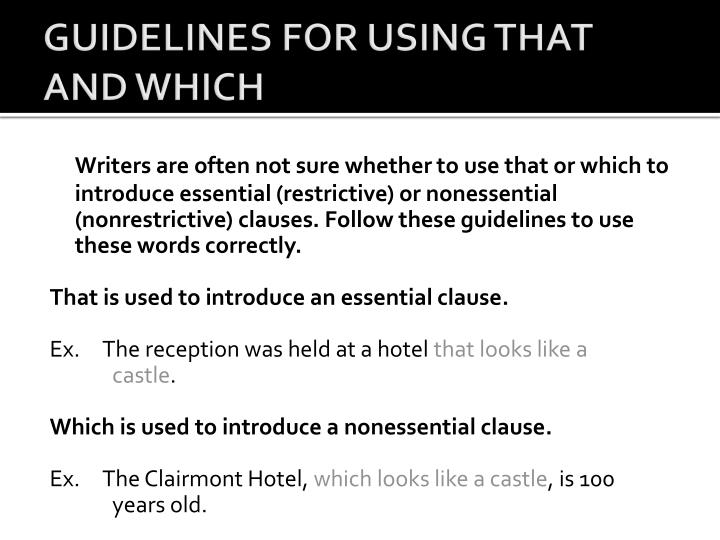 GUIDELINES FOR USING THAT AND WHICH