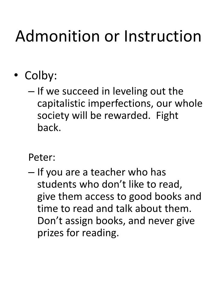 Admonition or Instruction