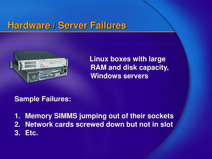 Hardware / Server Failures