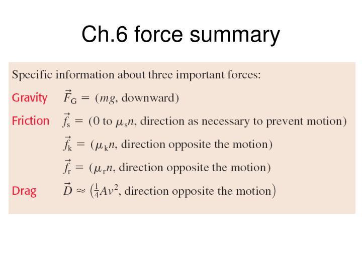 Ch.6 force summary