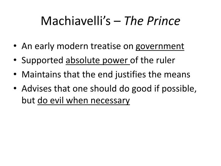 Machiavelli's –