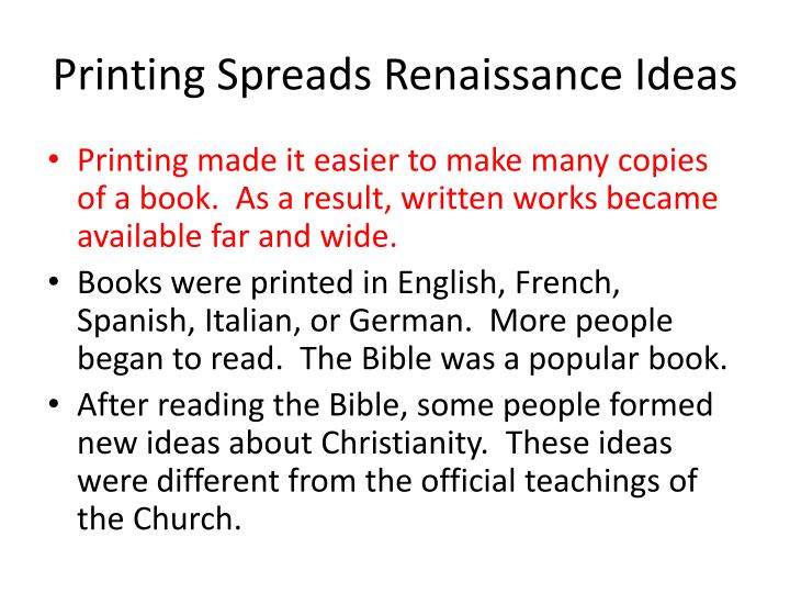 Printing Spreads Renaissance Ideas