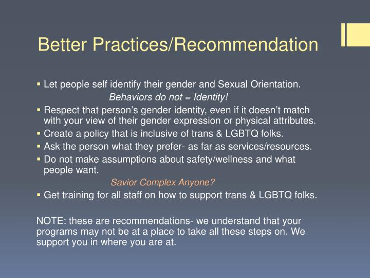 Better Practices/Recommendation