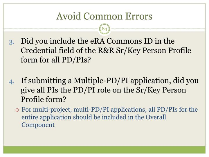Avoid Common Errors