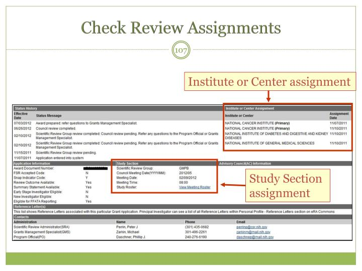 Check Review Assignments