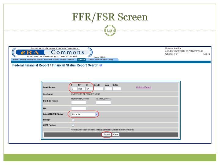 FFR/FSR Screen