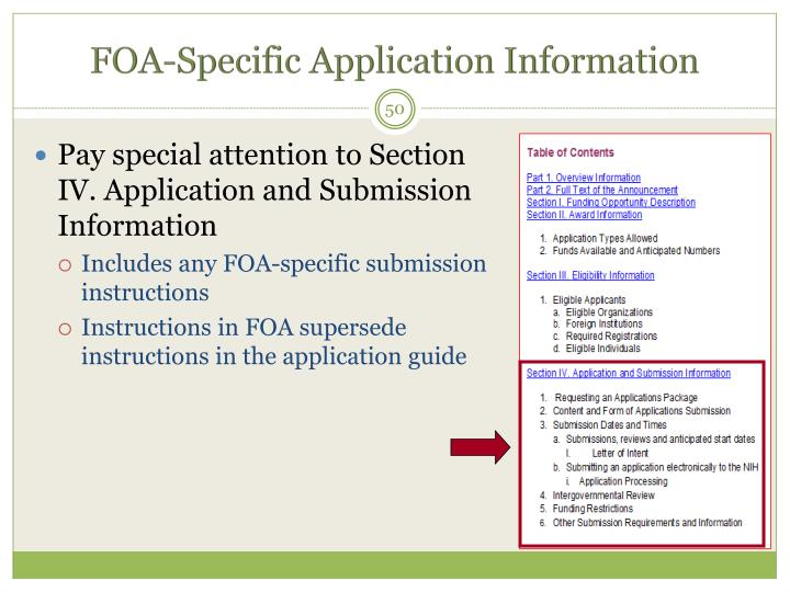 FOA-Specific Application Information