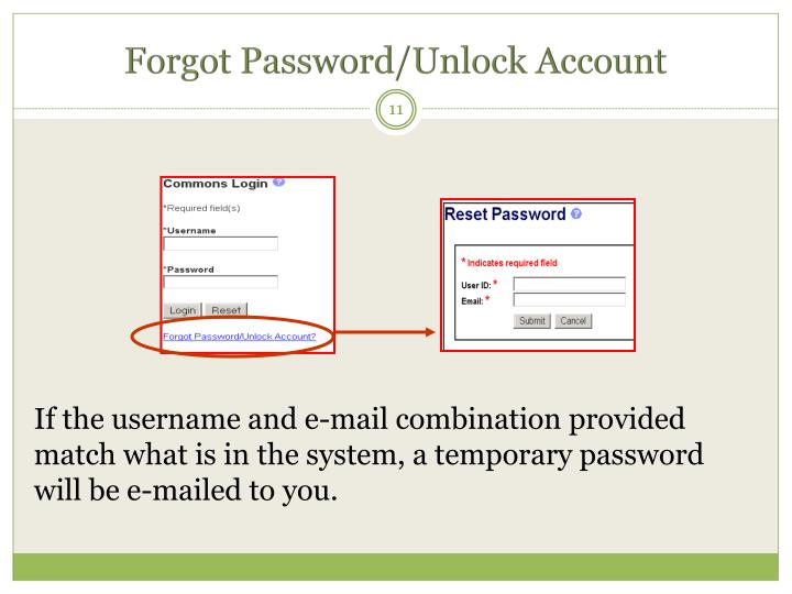 Forgot Password/Unlock Account
