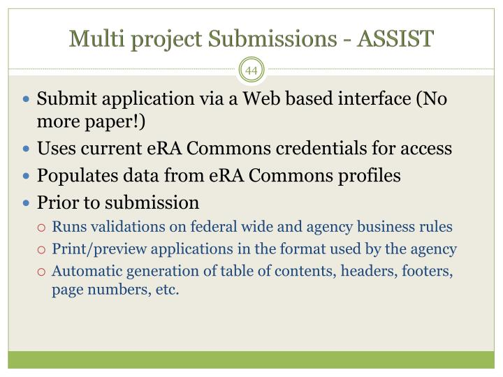 Multi project Submissions - ASSIST