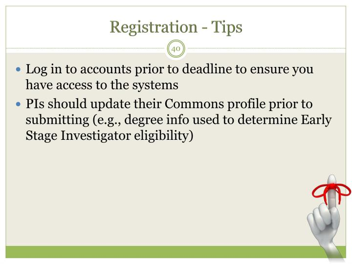 Registration - Tips