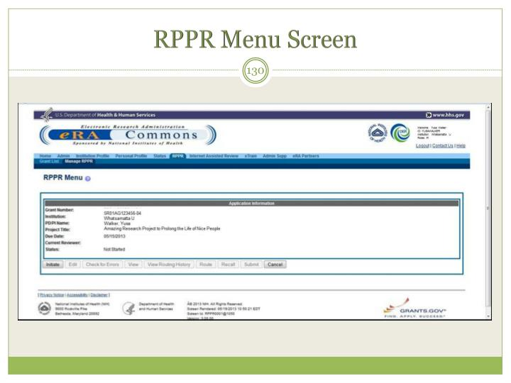 RPPR Menu Screen