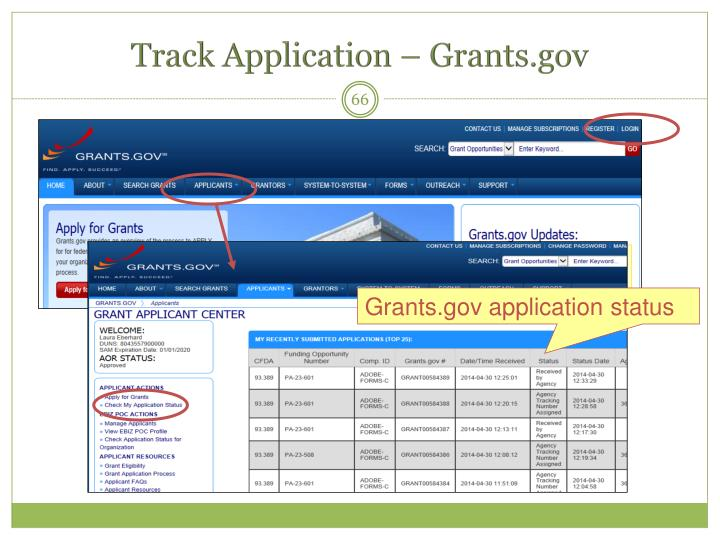 Track Application – Grants.gov
