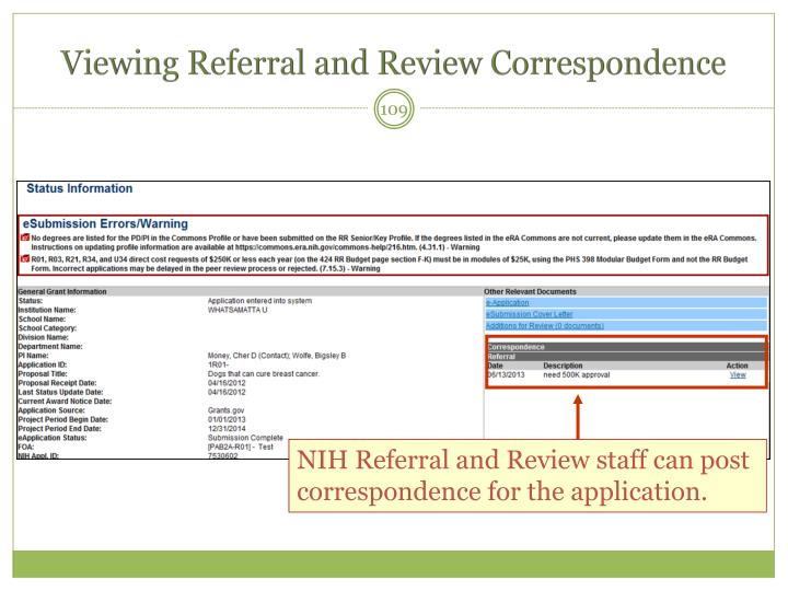 Viewing Referral and Review Correspondence