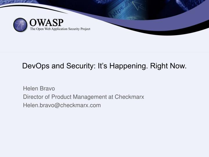 devops and security it s happening right now n.