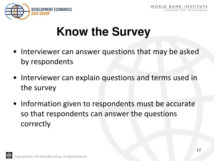 Know the Survey