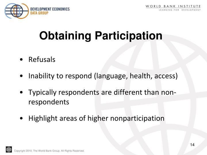 Obtaining Participation