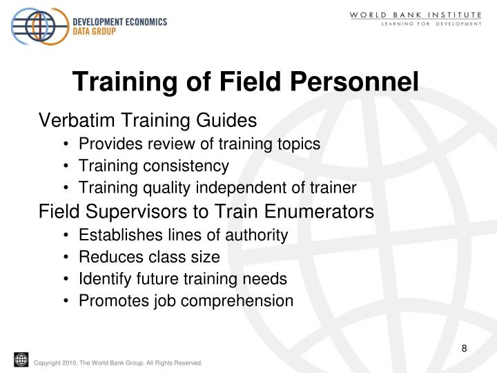 Training of Field Personnel