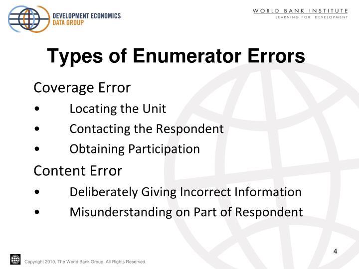 Types of Enumerator Errors
