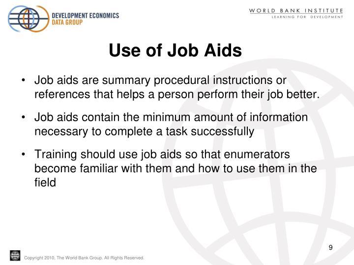 Use of Job Aids