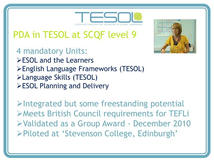 PDA in TESOL at SCQF level 9