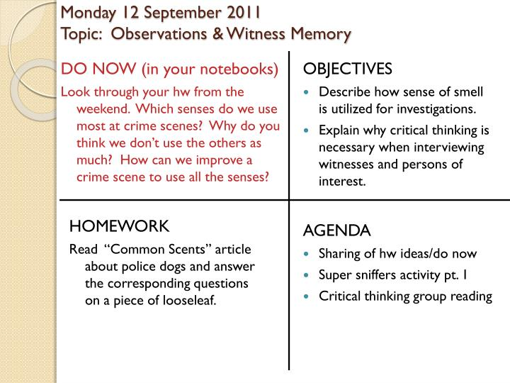 monday 12 september 2011 topic observations witness memory n.