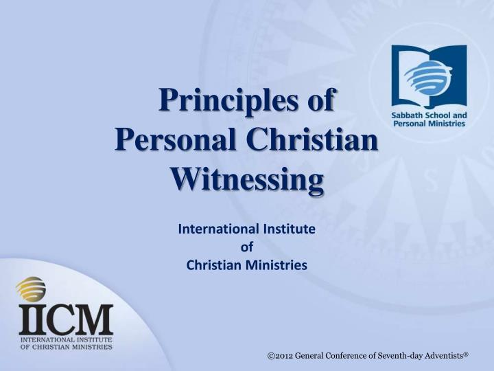 principles of personal christian witnessing n.