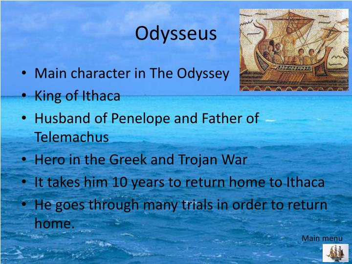 who was the main character in the odyssey
