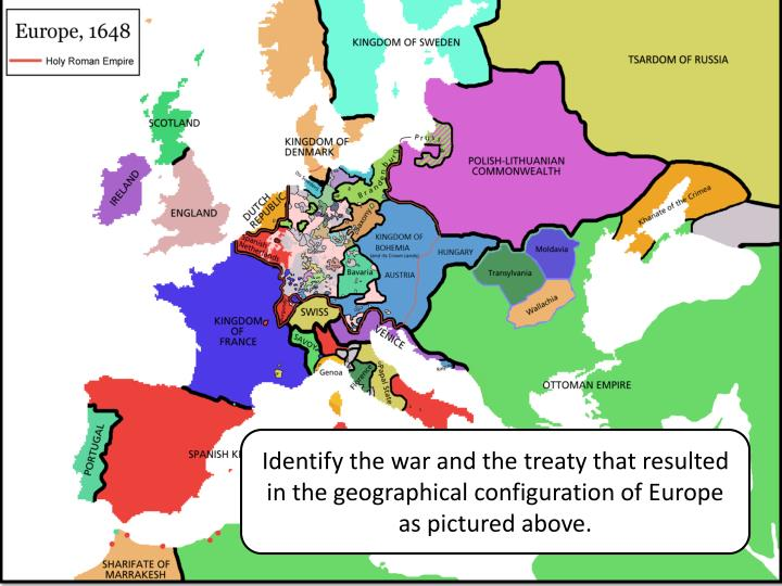 Identify the war and the treaty that resulted in the geographical configuration of Europe as picture...