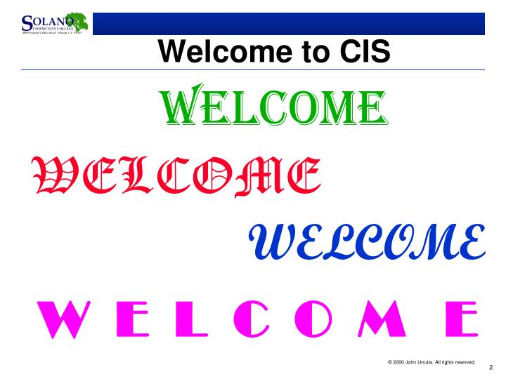Welcome to cis