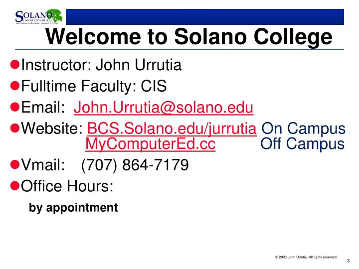 Welcome to solano college