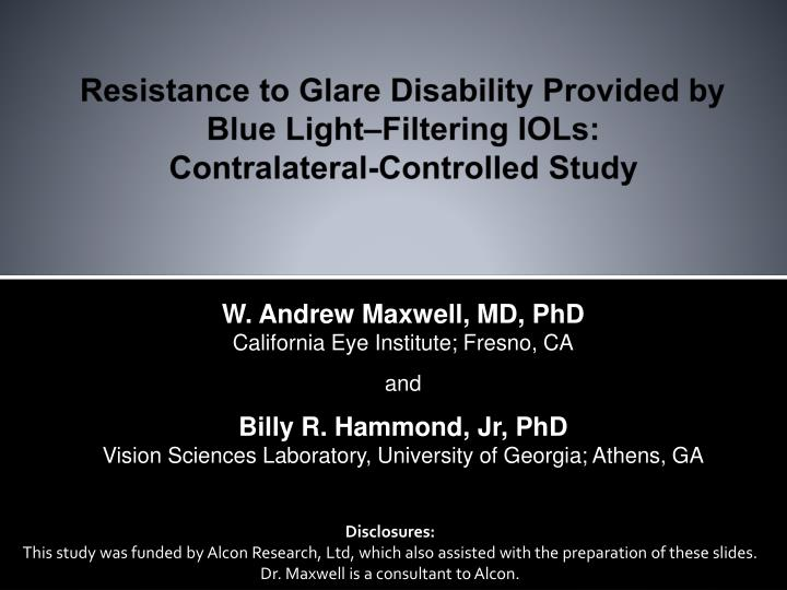 resistance to glare disability provided by blue light filtering iols contralateral controlled study n.