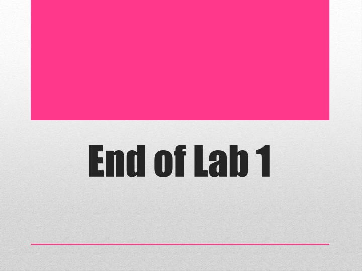 End of Lab 1