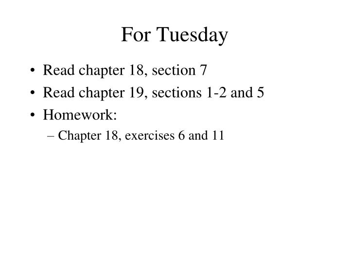 for tuesday n.