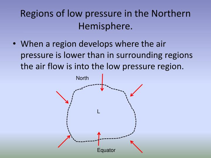 Regions of low pressure in the Northern Hemisphere.