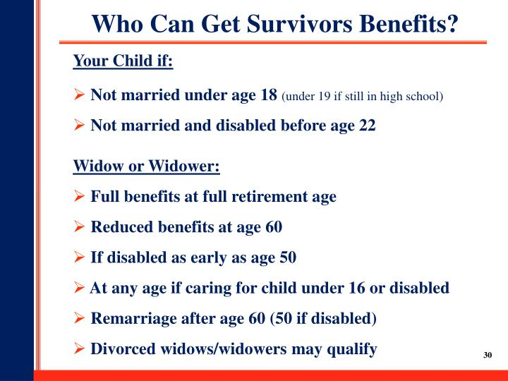 Who Can Get Survivors Benefits?