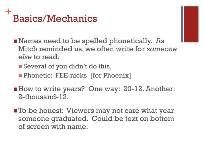 Basics mechanics