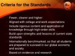criteria for the standards