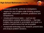 high school mathematics must