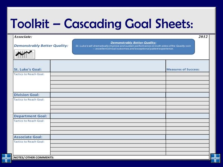 Toolkit – Cascading Goal Sheets: