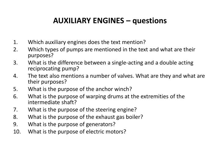 auxiliary engines questions n.