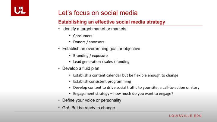 Establishing an effective social media strategy