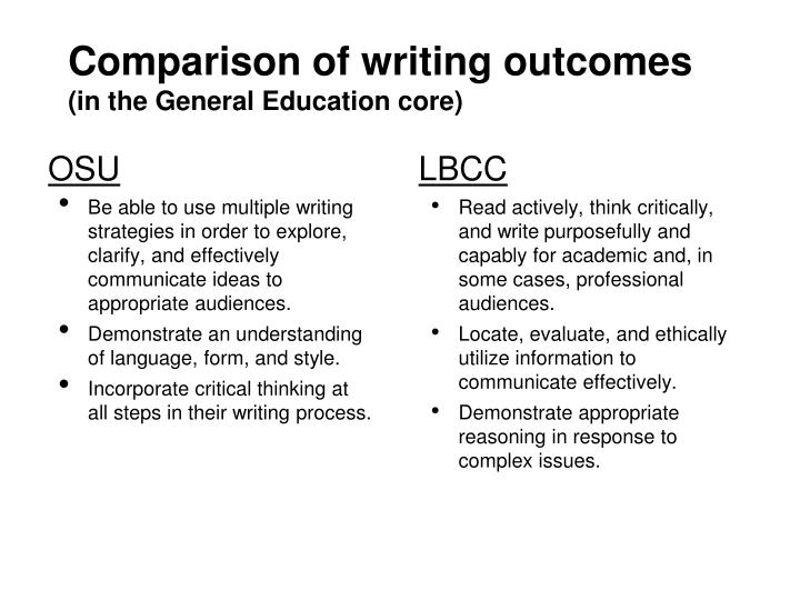comparison of writing outcomes in the general education core n.
