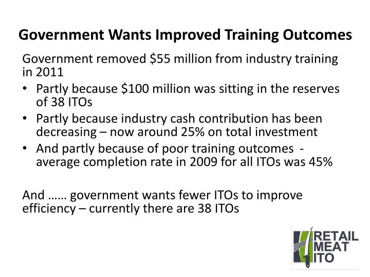 Government Wants Improved Training Outcomes