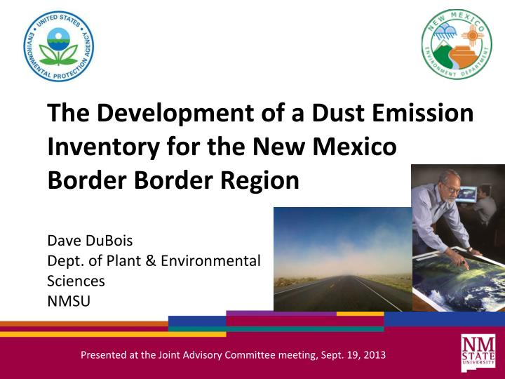 the development of a dust emission inventory for the new mexico border border region n.