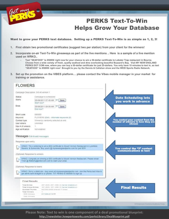 perks text to win helps grow your database n.